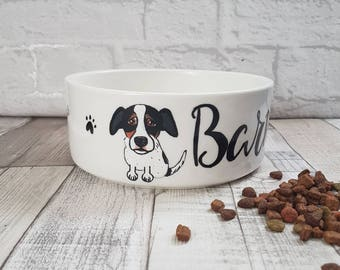 Personalised Caricature Dog Bowl - White Ceramic Pet Feeding Bowl