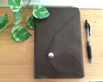 Premium Leather Journal Notebook - Raw Edge Leather - Lined Pages Handbound Dark Chocolate Brown