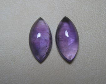 Natural African Amethyst Cabochon Marquise 2 Piece Loose Semi Precious Gemstone Size 9 x 18 mm code  9359 Wholesale