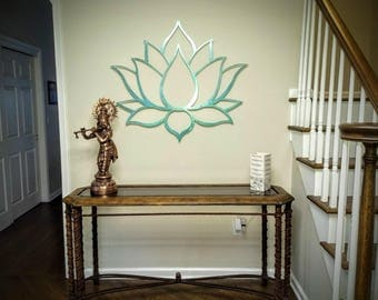 Lotus Flower Metal Wall Art Sculpture, Brushed Metal w/ Serenity Teal - Spiritual Wall Decor for the Modern Home, Yoga Studio or Meditation
