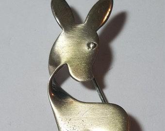 WOW SALE : Sterling Silver ORB Pin Brooch Deer