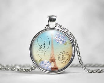 Eiffel Tower Pendant, 25mm Silver, Paris France, Gifts For Her, Vintage Art Pendant, Parisian Jewelry, Boho Jewelry, Cute Necklace
