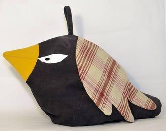 Bag range Pajamas 'bird'. Velvet gray and beige and Red bordeaux. Unique piece.