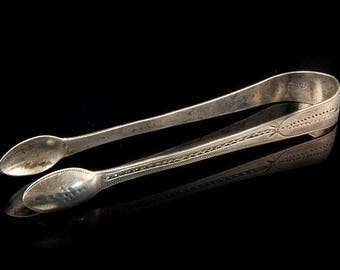 Early 18th English Early Hallmark Sterling Silver Engraved Tongs