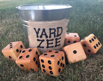 Yard-Zee, Giant Yard Dice Yahtzee Game, Farkle Dice Game, Six handmade wooden dice with galvanized steel pail, Outdoor Yard-Zee Family Game