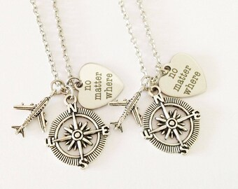 set 2 no matter where necklace - airplane necklace - compass necklace - friendship necklace - girlfriend - birthday gift