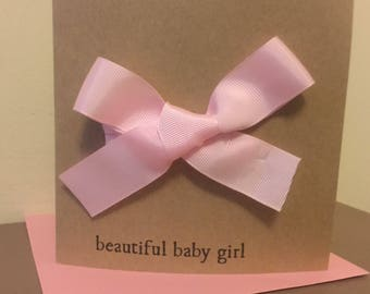 Beautiful Baby Boy or Girl Ribbon Bow Cards New Baby