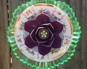 """Plate flower, Vintage Glass, Garden Decor """" Lilly Pad"""""""
