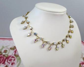 1950's Vintage Aurora Borealis Rhinestone Necklace - Pear-Cut Rainbow Crystal Fringe Necklace - Art Deco Rhinestone Collar Necklace