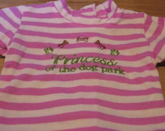 Princess of the Dog Park striped dog T shirt