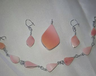 3 Piece Angel Skin Shell and Silver Jewelry Set