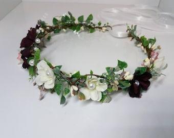 Burgundy Flower crown Wedding flower crown Bridal headband Floral crown Flower hair wreath Flower halo Wedding crown
