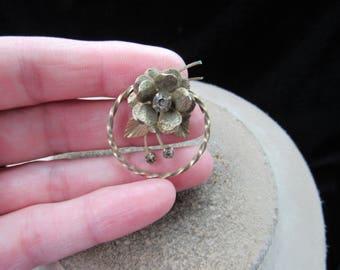 Vintage Goldtone Brown Rhinestone Floral Pin