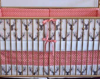 SHIPS TOMORROW - SALE - 2 piece set - crib bumpers, crib skirt, woodland girl nursery, floral antlers, coral and gold, modern nursery