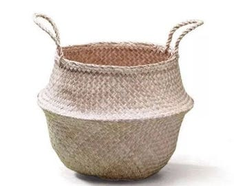 """Sea Grass Belly Basket Natural Color 