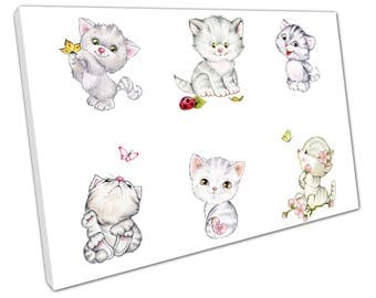 print on canvas Children & Infants kittens Cats playing with Butterflies - X1566