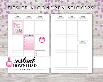A5 Planner Printable - Weekly Inserts - Vertical - V2 - Erin Condren Size Boxes - Filofax A5 - Kikki K Large - Design: Wanderlust