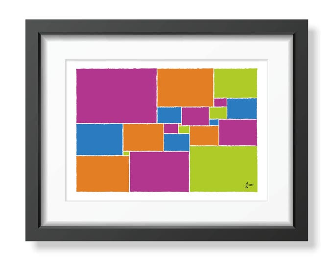 Squared square stretched 02 [mathematical abstract art print, unframed] A4/A3 sizes