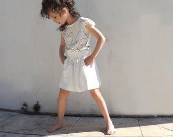 Girls White Skirt, Trendy Girls Twirl Skirt, Stylish Kids Skirt, Hipster Girls Clothes, White Cotton Skirt, SALE - By PetitWild