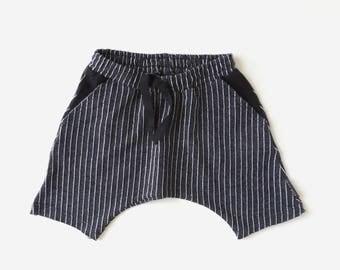Black Stripe Harem Shorts - Boys Black Harem Shorts - Black Children Shorts - Summer Wear - Monochrome Kids - Drop Crotch - by PetitWild