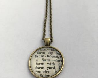 FARMHOUSE Vintage Dictionary Word Pendant