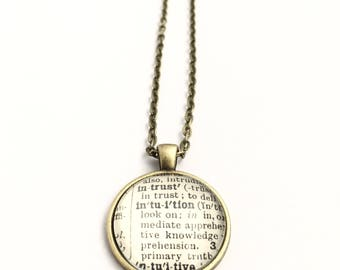 INTUITIVE / INTUITION Vintage Dictionary Word Pendant