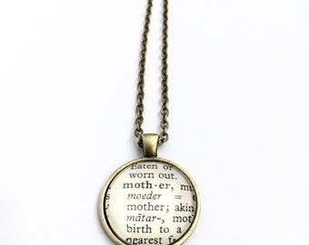MOTHER Vintage Dictionary Word Pendant