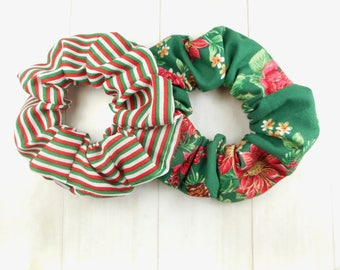 2 for 1 - Christmas scrunchie, scrunchies, tie-hair, elastic, ponytail,  fabric 100 % cotton, poinsettia, candy cane, strips