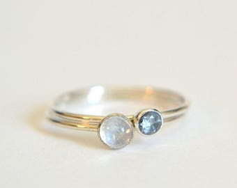 NEW! Set of Two 14k Solid WHITE Gold Moonstone Rings, Moonstone Ring White Gold, 14k White Gold Aquamarine Ring, Stackable Ring, Palladium