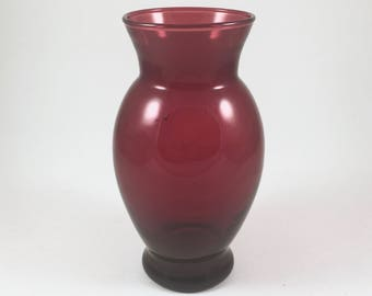 Ruby Red Glass Vase, Vintage Anchor Hocking Red Glass Vase, Mid Century Home Decor, Valentine's Day Vintage Vase