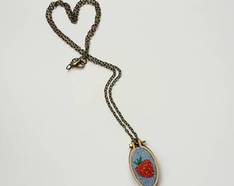 """embroidery necklace """"strawberry"""""""
