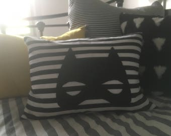 Gorgeous Black and White Striped Superhero Mask Cushion