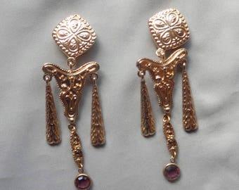Vintage Etruscan Style Statement Long Dangling Amethyst Clip On Earrings