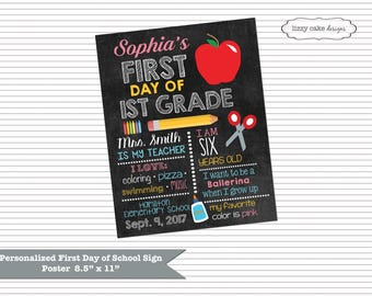 PERSONALIZED First Day of School Poster Sign, Printables, 1st Day of School Chalkboard Poster Sign