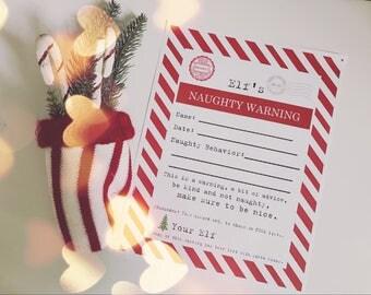 Christmas Elf Naughty Warning Bad Behavior Non-Editable Printable - Vintage Typewriter Style - INSTANT Downloadable Printable PDF!