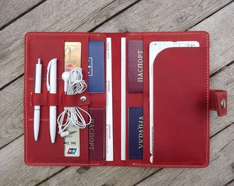 Travel wallet/leather travel wallet/family passport holder/4, 6,8,10  passport holder /family travel wallet/travel document organizer