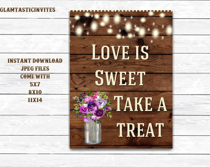 Love is Sweet Sign, Rustic Shower Sign, Printable Sign, Shower Sign, Rustic Wedding, Wood Sign, Digital Sign, Rustic,Printable Shower Sign,