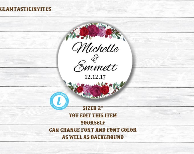 Wedding Tags, Editable Wedding Tags, You Edit, Wedding Favor Tags, Wedding Cupcake Toppers, Editable cupcake Toppers, Template, DIY, Floral