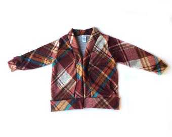 Rust teal plaid cardigan toddler cardigan baby cardigan kids cardigan plaid mustard