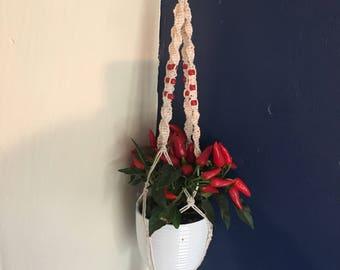 Macrame beaded plant hanger