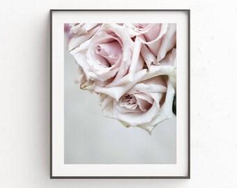 Roses, Flower Print, Floral, Roses Print, Wall Art, Digital Print, Home Decor, Bedroom Decor, Pink and Grey, Boho Decor Ideas, Floral Art