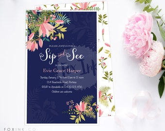 Sip & See OR Baby Shower Floral Invitations DIGITAL FILE