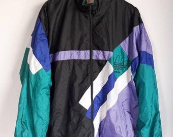 CLEARANCE SALE 35% Vintage 1990s Adidas Trefoil Sportswear Hip Hop Multicolor Windbreaker Jacket Large