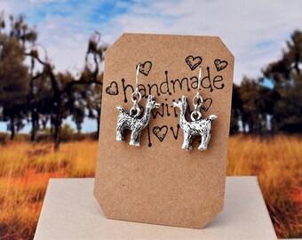 Tiny llama Earrings, Llama Dangles - Sterling Silver Wires, Alpaca Earrings, Lama Silver Drops Minimal Jewelry, Kids Teen, Gift for Mom