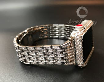 38mm 42mm Apple Watch Band Series Series 3 Women's Crystal 1 0r 2 Row Case Cover Bezel Clear Swarovski Crystals Silver Stainless Steel Band