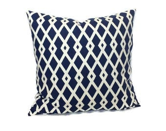 Robert Allen Pillow, Marine Blue Pillow, Navy Blue White Throw Pillow Cushion Cover Decorative Geometric Pillow, Accent Lumbar Pillow