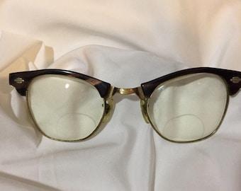 True Vintage ArtCraft Tortoise Mid Century Hornrim 50-60's Eyeglass Frame 44/22