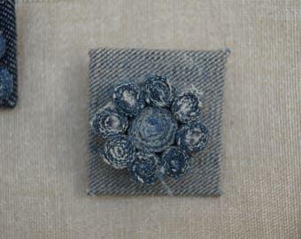 Denim square brooch
