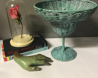 vintage wicker margarita glass bowl large woven display stand