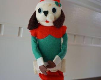 Vintage Felt Dog Christmas Ornament/Made in Japan/ Mid Century Christmas